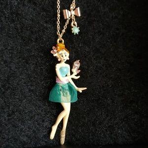 NIB-Betsey Johnson Dancing Lady Necklace